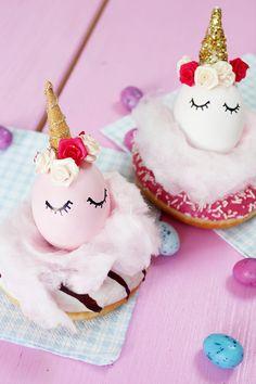 DIY Einhorn Ostereier selber machen & Donut kreativ als Osternest dekorieren