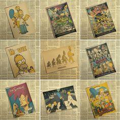 The Simpsons Cross The Street Road Cartoon Beatles Kraft Paper Bar Poster Retro Poster Decorative Painting Wall Sticker