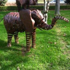 Animal Yard Art Elephant Bronze Metal Aluminum Garden Statue