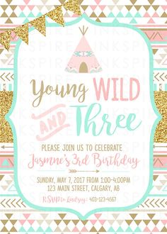 This birthday invitation is perfect for a YOUNG, WILD & THREE, TRIBAL themed party! I EDIT, YOU PRINT! Its easy... ► Step 1: You send me the party details. ► Step 2: I edit the invitation and e-mail it to you. ► Step 3: You print as many copies as you like and send them off. For other