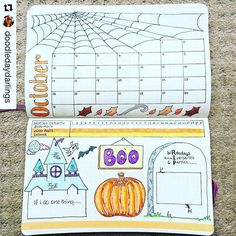 Monthly planning pages are my favorite. Especially when they're this adorable. Beautiful @doodledaydarlings. Be sure to tag me when you post your monthly spreads. ・・・ October planning has started! :jack_o_lantern::spider_web: #bulletjournal #bulletjournal