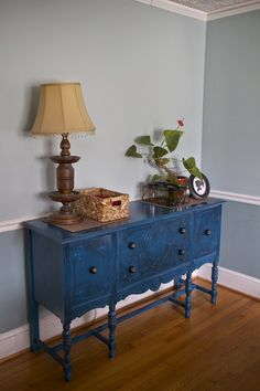 Peacock blue antique buffet upcycle