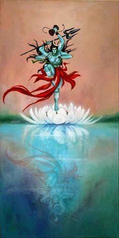 Lord Shiva as Nataraj on lotus in creative art painting