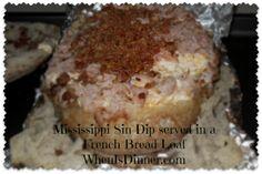 Mississippi Sin Dip  http://whenisdinner.com/mississippi-sin-dip-in-a-french-bread-loaf/