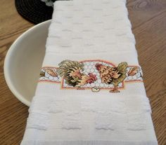 Country Chicken Hand Cross Stitch Kitchen/Tea Towel - Housewarming Gift by CrossStitchbyChris on Etsy