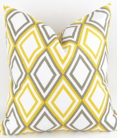 Yellow Diamond Pillow Cover 28x28 inch white by DeliciousPillows, $33.00