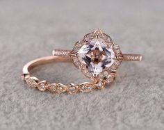 2pcs Morganite Bridal Set anello anello di fidanzamento di popRing