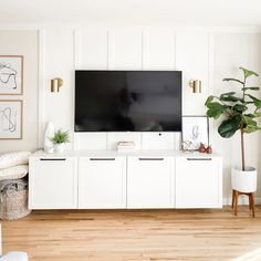 Modern Apartment Living with White Shaker Fronts – Semihandmade Accent Walls In Living Room, Living Room Tv, Living Room Modern, Apartment Living, Home And Living, Living Room Designs, Tv Stand Ideas For Living Room, Ikea Living Room Furniture, White Apartment