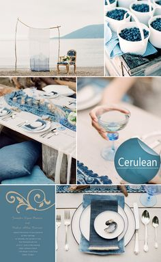 cerulean blue inspired wedding color ideas and wedding invitations