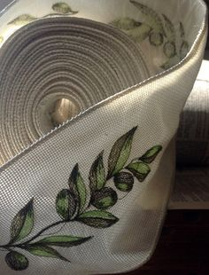 olive branch green and ivory wired ribbon by ShyMyrtle  communion table runner??