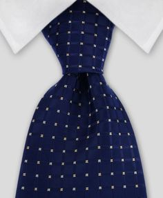 Deep Navy Grooms Tie, Blue Geometric Tie, Blue Silk Tie, Blue Wedding Tie, Blue Tie with White Motif Pattern Wedding Ties at Gentlemanjoe.com