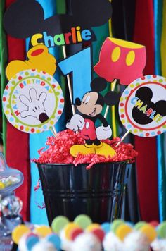 Sweet Simplicity Bakery: Mickey Mouse Clubhouse Birthday Party; Die Cut Centerpiece bucket