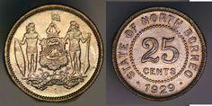 BRITISH NORTH BORNEO, 25 CENTS, 1929 H, KM 6, AU-UNC  Poss old cleaning.