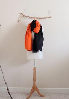 2c153e2060 2 Tone linen shawl  scarf choose your colors Black Linen