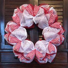 Christmas Red & White Chevron Wreath