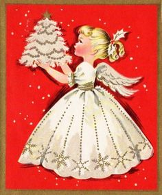Vintage Angel Christmas Card.  Pinning for the dress pattern.   I like the snowflakes