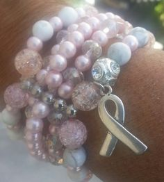 Breast Cancer Bracelet by UniqueJazzCollection on Etsy