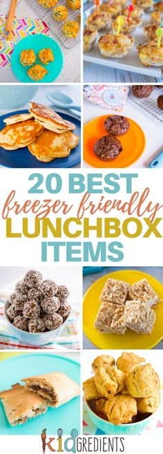 20 of the best freezer friendly lunchbox items! All in one place, no need to search. Don't go back to school without these easy recipes in your freezer. Make lunches quicker and easier with these kid approved freezer friendly recipes! #freezerfriendly #kidsfood #lunchbox #familyfood #lunch #bake #recipesforkids via @kidgredients