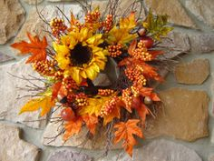 Fall Wreath Sunflower Twig Wreath Autumn Wreath