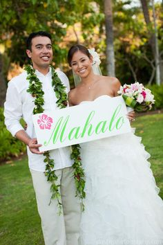 MAHALO Hawaiian THANK YOU sign. For your (Thank You Cards). 10 X 24 in.  Over 300 Wedding Signs in our shop. @Chaena Mendoza