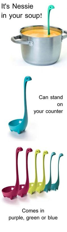 Nessie Ladle is an awesome kitchen gadget. Gift it or get it for yourself. I like the way how it free stands on your counter while waiting to be used. Comes in purple, green or blue.