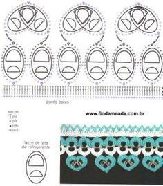 Crochet Tin Rings - Chart - Lots of other bottle top patterns too! Soda Tab Crafts, Can Tab Crafts, Pop Top Crochet, Crochet Designs, Crochet Patterns, Pop Top Crafts, Pop Can Tabs, Soda Tabs, Aluminum Cans