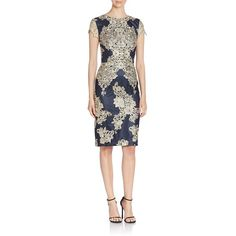 David Meister Women's Lace Embellished Sheath Dress - Navy-Gold featuring polyvore, women's fashion, clothing, dresses, apparel & accessories, navy cocktail dresses, white lace dress, lace dress, navy blue lace cocktail dress and white lace cocktail dress
