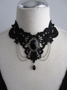 Victorian Gothic Burlesque Black Lace Choker Necklace by Ravennixe