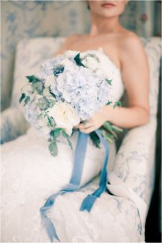 Pantone colour of the year 2016 Serenity - pale blue bridal bouquet - Anastasiya Belik Photography