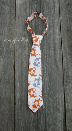 Boys Fox Necktie, Toddler Fox Neck Tie, Grey Foxes, Birthday Bash, Photo Prop on Etsy, $18.00