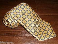 "New Mens JONES NEW YORK Geometric Silk Tie Gold with Navy & Gray 58"" x 3.75"""