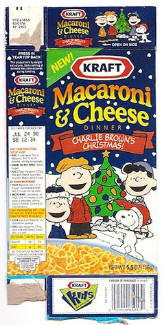 Vintage Kraft Macaroni and Cheese Box | 1998 KRAFT Macaroni & Cheese Box Charlie Brown Christmas Peanuts