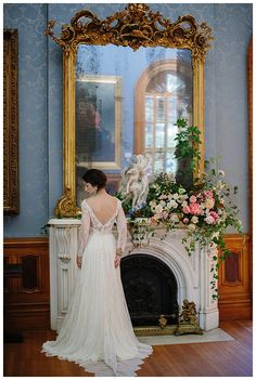 Bride at historic Hay House in Macon, GA. Florals by Victory Blooms, wedding dress by Leanne Marshall from The Sentimentalist. Image by Michelle Scott Photography.