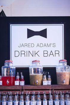 Drink Bar from a Monochromatic Little Man Birthday Party via Kara's Party Ideas KarasPartyIdeas.com (9)