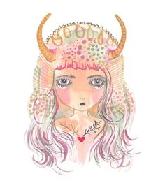 Taurus art print  gouache watercolor illustration by Coramantic