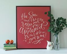 The sun and the rain and the appleseed / Oh the lord is good to me!  about this piece   Can you even think about fall without thinking about apples?! A sweet nod to nostalgia, this playful canvas was inspired by the prayer we sang as kids (and sing to our kids today)! about LL canvases   Each canvas is custom-made just for you in the US Professional Giclée print on museum quality cotton canvas Includes a matte finish UV protective coating and super easy hanging system Artwork ©Lindsay…