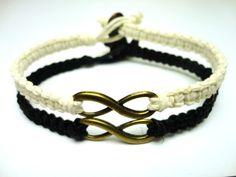 Infinity Bracelet Set, Black and White Macrame Hemp Jewelry, Couples or Friendship Bracelet