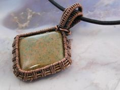 Imperial Jasper, Wire Wrapped Copper Pendant Necklace, Designer ...