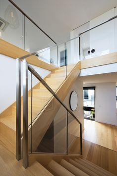 Stairs | Victorian Ash | Stained | Glass Balustrade | Stainless Steel Handrail | Open Stair | Closed Stair | Stairwell | Interior Design