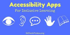 A collection of accessibility apps for the iPad including accessibility apps for vision, hearing, speech, physical and motor skills, learning and literacy. Apps For Teaching, Resource Room, Educational Technology, Motor Skills, Special Education, Literacy, Physics, Ipad, Learning