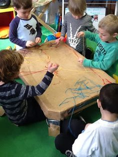 Playfully Learning: Sewing Table-A Collaborative Fine Motor Experience Cabin Activities, Eyfs Activities, Motor Activities, Creative Activities, Therapy Activities, Kindergarten Activities, Classroom Activities, Activities For Kids, Preschool Classroom