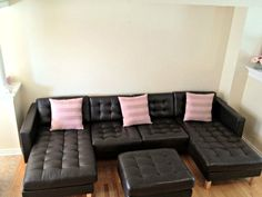 not wild about the colors but..Ikea loveseat & 2 chaise lounges make up this sectional style seating.