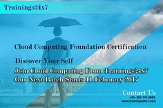 If you want to provide the Internet-based computing that provides shared computer processing resources and data to computers and other devices on demand. learn cloud computing with Trainings24x7.  Our Upcoming Batch On : 11 Feb 2017 Training Mode : Classroom Fees : 14500* Training Days : 2 Days Venue : 301 F - 16 Preet Vihar Opp. Metro Station New Delhi 110092