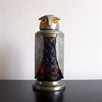 Image result for details about vintage mid century amber glass & metal owl shaker decanter bottle