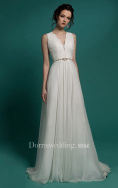 90d524761f6 A-Line Floor-Length V-Neck Sleeveless Illusion Chiffon Dress With Beading  And Lace Appliques