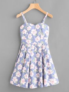Shop All Over Floral Print Random Cami Dress at ROMWE, discover more fashion styles online. Casual Summer Dresses, Cute Summer Outfits, Girly Outfits, Pretty Outfits, Pretty Dresses, Beautiful Outfits, Dress Outfits, Vintage Outfits, Short Dresses