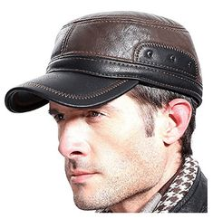 Winter Leather Hat Mens Plus Cotton Warm Baseball Cap Adjustable Winter Leather Cap Gentleman Hat Great