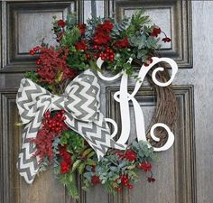 with noel mantle Christmas Wreath Monogram wreath Chevron bow --- well would you look at that Barkett Barkett Barkett Reale it has your pattern and initial Merry Little Christmas, Rustic Christmas, All Things Christmas, Winter Christmas, Christmas Holidays, Chevron Christmas, Holiday Wreaths, Holiday Crafts, Holiday Fun