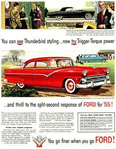 1955 Ford Fairlane Club Sedan - You can see Thunderbird Styling - Original Ad