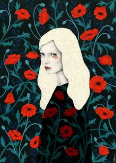 woman, portrait, poppy, poppies